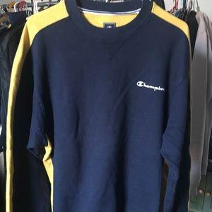 Champion Black w/ Yellow Shoulder Stripe Crewneck